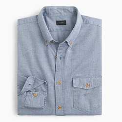 Brushed twill shirt in mini-herringbone