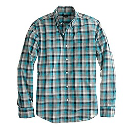 Slim Secret Wash shirt in heathered turquoise plaid