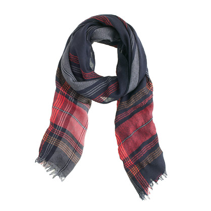 Wool-linen plaid scarf
