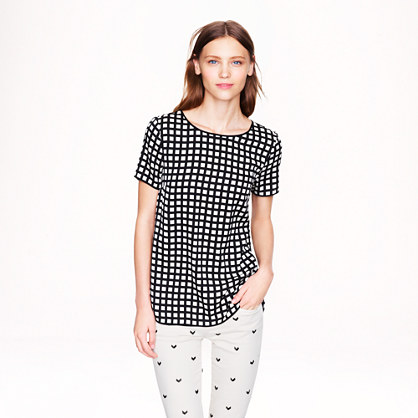 Tipped silk tee in windowpane