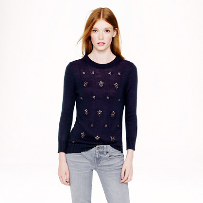 Jeweled-cluster sweater in navy