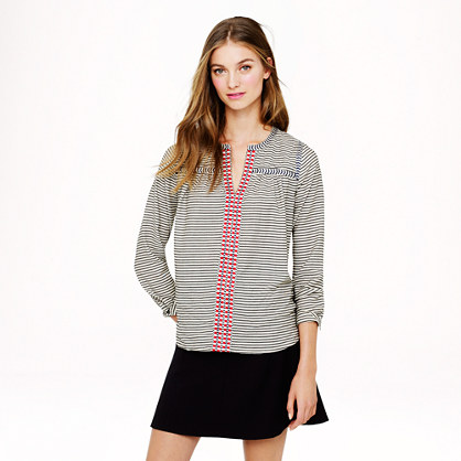 Embroidered peasant top in stripe