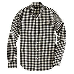 Slim Secret Wash shirt in ivory mini buffalo check