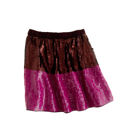 Girls' sequin colorblock skirt
