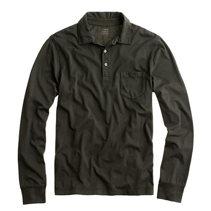 Tall broken-in long-sleeve pocket polo