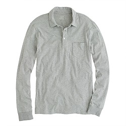 Broken-in long-sleeve pocket polo