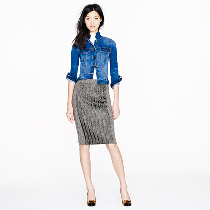 Collection No. 2 pencil skirt in beaded herringbone wool