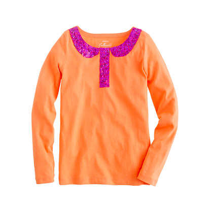 Girls' long-sleeve sequin trompe l'oeil tee