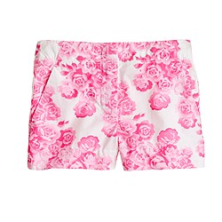 Girls' tea rose print short