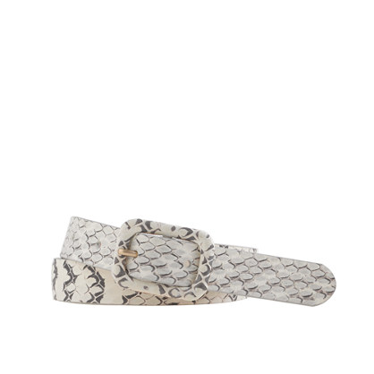 Snakeskin covered-buckle belt