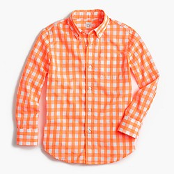 Boys' Secret Wash shirt in medium gingham