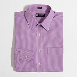 Factory point-collar dress shirt in small gingham