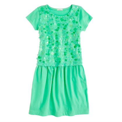 Girls' paillette jersey dress