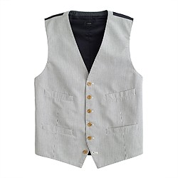 Ludlow suit vest in Japanese seersucker