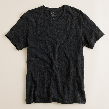 Field knit jaspé V-neck tee