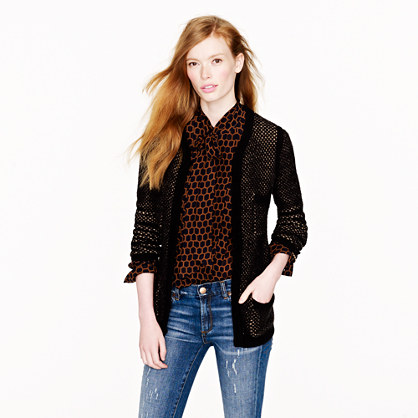 Honeycomb wool sweater-jacket