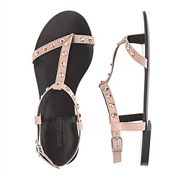 Girls' studded T-strap sandals