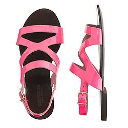 Girls' patent leather flat sandals