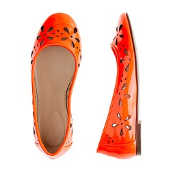 Girls' patent leather eyelet ballet flats