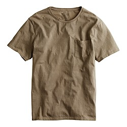 Hand-dyed pocket tee in iron and chestnut