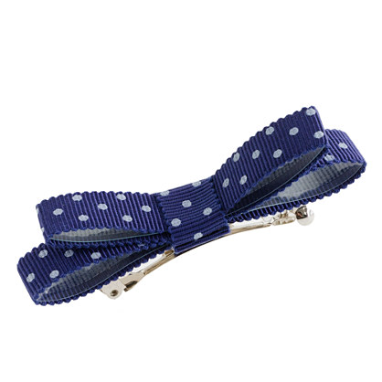 Girls' polka-dot bow barrette