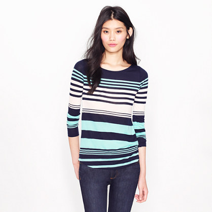 Multistripe long-sleeve boatneck tee