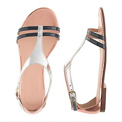Girls' colorblock T-strap sandals