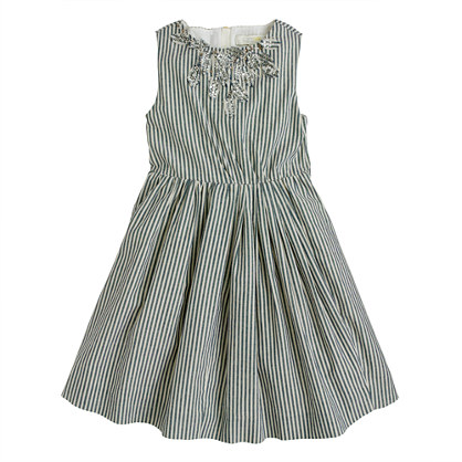 Girls' striped cotton sparkle dress