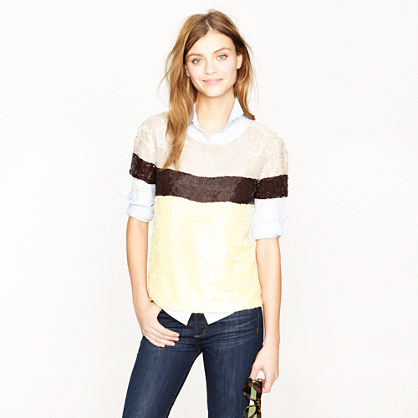 Collection sequin colorblock top