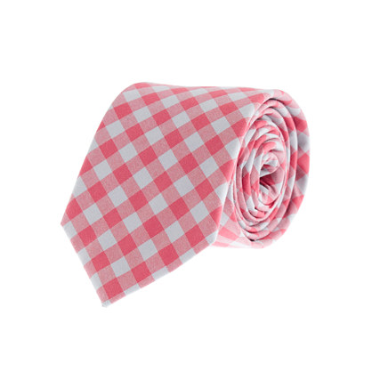 Boys' cotton tie in two-color gingham