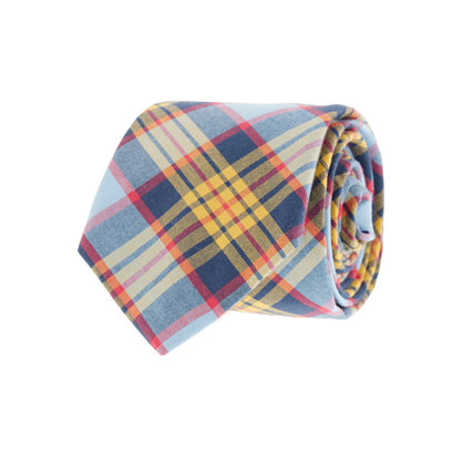 Tartan oxford cloth tie in citrus