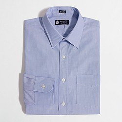 Factory point-collar end-on-end dress shirt