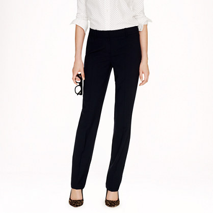 Petite stovepipe trouser in stretch wool