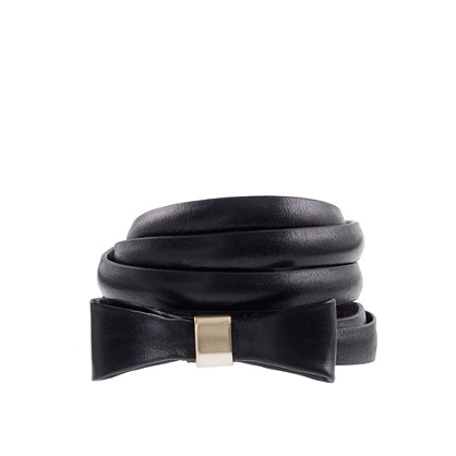 Leather bow skinny belt