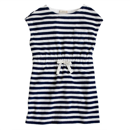 Girls' terry pocket dress in stripe