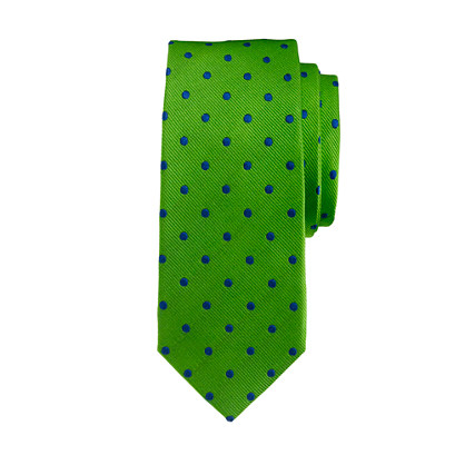 Boys' silk tie in lime print