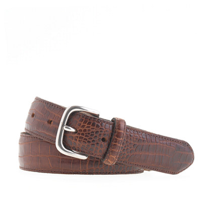 Crocodile-embossed belt