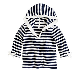 Girls' terry V-neck hoodie in stripe