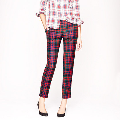 Tall café capri in red tartan