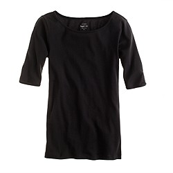 Perfect-fit boatneck button tee