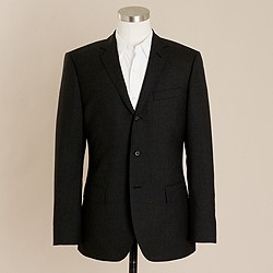 Ludlow three-button suit jacket with center vent in Italian wool