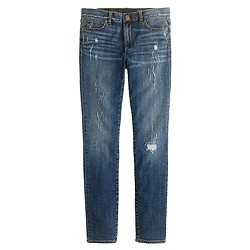 Midrise toothpick jean in distressed indigo