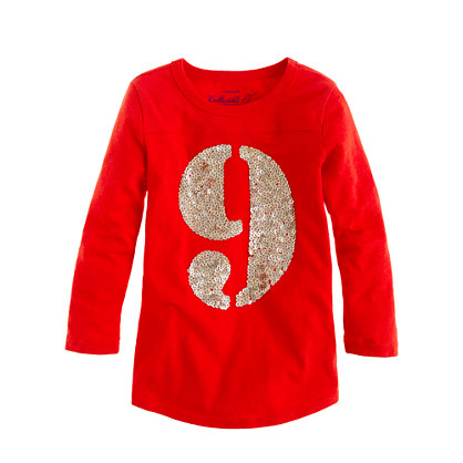 Girls' three-quarter sleeve sequin nine baseball tee