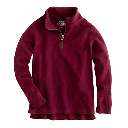 Boys' sueded half-zip popover