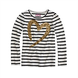 Girls' long-sleeve painted heart tee in stripe