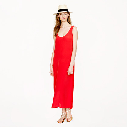 J. Crew red silk crepe maxidress, $165, at J. Crew.