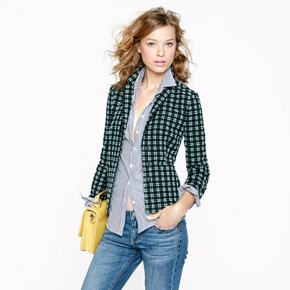 Shrunken blazer in embroidered plaid