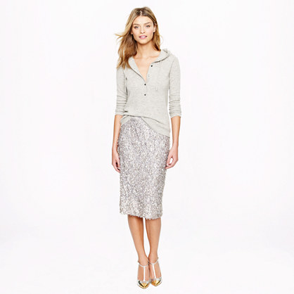 Collection sequin lace pencil skirt