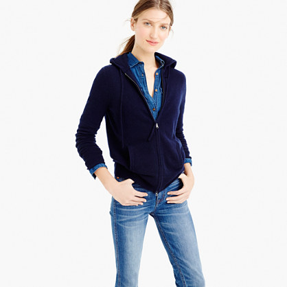 Collection cashmere zip-front hoodie - j.crew :  zip up cashmere hoodie