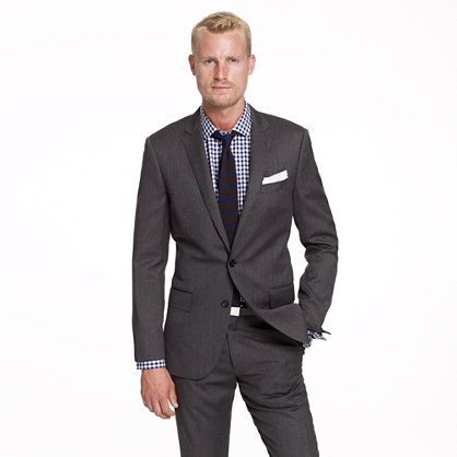 Ludlow suit jacket with double vent in herringbone Italian wool